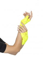 Mezzi guanti giallo fluo per donna