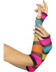 Mezzi guanti lunghi fluo a rete per donna
