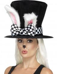 Cappello a cilindro con orecchie di coniglio per adulto