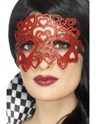 Maschera con cuori rossi per adulto