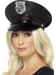 Cappello da poliziotto con pailettes per donna