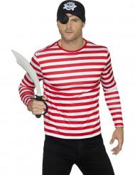 T-shirt a righe bianche e rosse per adulto