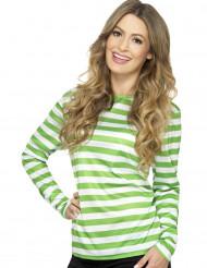 T-shirt a righe bianche e verdi per adulto