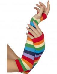 Guanti lunghi a righe multicolori per adulto
