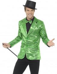 Giacca verde disco con paillettes deluxe per uomo