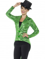 Giacca a coda di rondine verde per donna