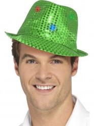 Cappello borsalino verde a paillettes con LED per adulto