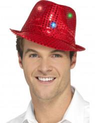 cappello borsalino rosso a paillettes con LED per adulto