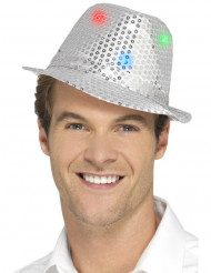 Cappello borsalino argentato a paillettes con LED per adulto