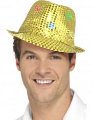 Cappello borsalino dorato a paillettes con LED per adulto