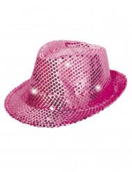 Cappello borsalino rosa con paillettes con LED