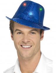 Cappello borsalino blu a paillettes con LED per adulto