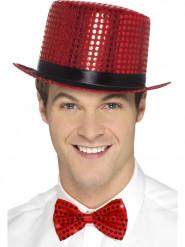 Cappello rosso a cilindro con paillettes e nastro nero