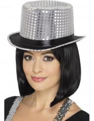 Cappello argentato a cilindro con paillettes e nastro nero