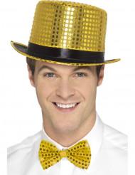 Cappello dorato a cilindro con paillettes e nastro nero