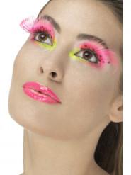 Image of False ciglia a lunghi e piumette rosa fluo