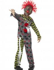 Vestito pagliaccio scheletro  terrificante da bambino