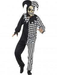 Costume giullare diabolico bianco e nero per adulto Halloween