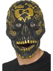 Maschera scheletro dorato adulto halloween