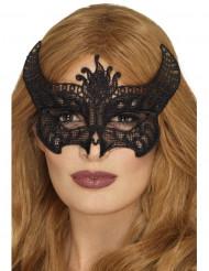 Maschera in pizzo nero diavolessa per donna halloween