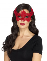 Maschera in pizzo rosso diavolessa per donna halloween