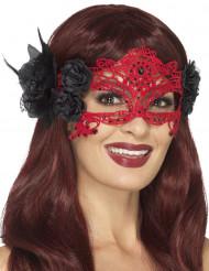 Mascherina in pizzo rosso per donna