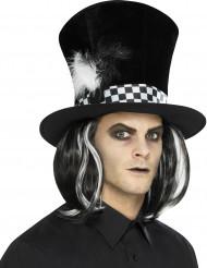 Cappello a cilindro nero con capelli per adulto