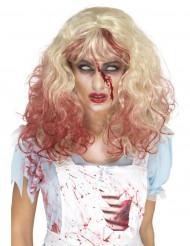 Parrucca bionda insanguinata per donna Halloween