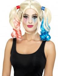 Parrucca arlecchino folle biondo con code per donna