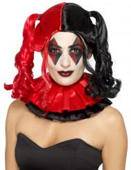 Parrucca rosso e nero arlecchino diabolico per donna