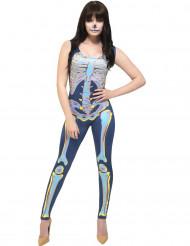 Costume tuta da scheletro multicolore per donna halloween
