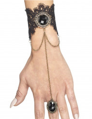 Braccialetto con anello stile gotico nero per donna
