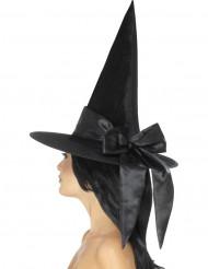 Cappello da strega nero con fiocco donna halloween