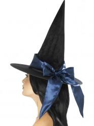 Cappello nero con fiocco blu da donna per Halloween
