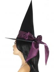 Cappello nero con fiocco viola da donna Halloween