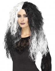 Parrucca bicolore bianca e nera per donna