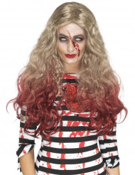 Parrucca bionda lunga insanguinata per donna Halloween