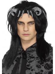 Parrucca nera creatura demoniaca adulto halloween