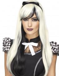 Parruca lunga bianca e nera con fiocco termoresistente donna