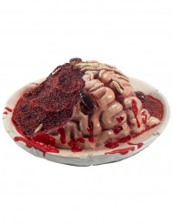 Decorazione per halloween piatto con cervello in decomposizione