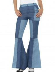 Pantaloni jeans patchwork per donna