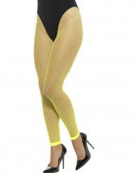 Collant a rete a maglie grandi senza piedi giallo