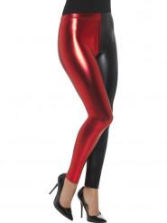 Legging metallizzati nero e rosso donna