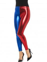 Collant metallizati blu e rosso per donna