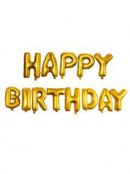 13 Palloncini in alluminio oro Happy Birthday