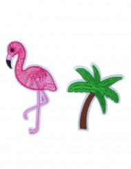 2 Spille in tessuto fenicottero e palma