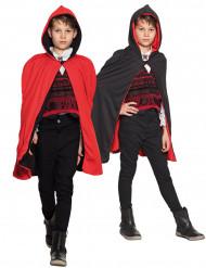 Mantello nero/rosso reversibile da bambino per Halloween