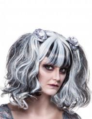 Parrucca Gotica bianca e nera Donna