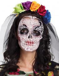 Maschera e cerchietto colorato dia de los muertos