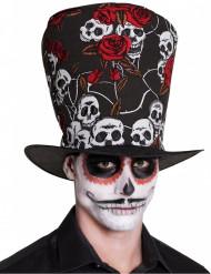 Cappello a cilindro con teschi e rose adulto dia de los muertos